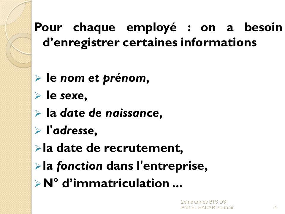 Pour chaque employé : on a besoin d'enregistrer certaines informations  le nom et prénom,  le sexe,  la date de naissance,  l'adresse,  la date d