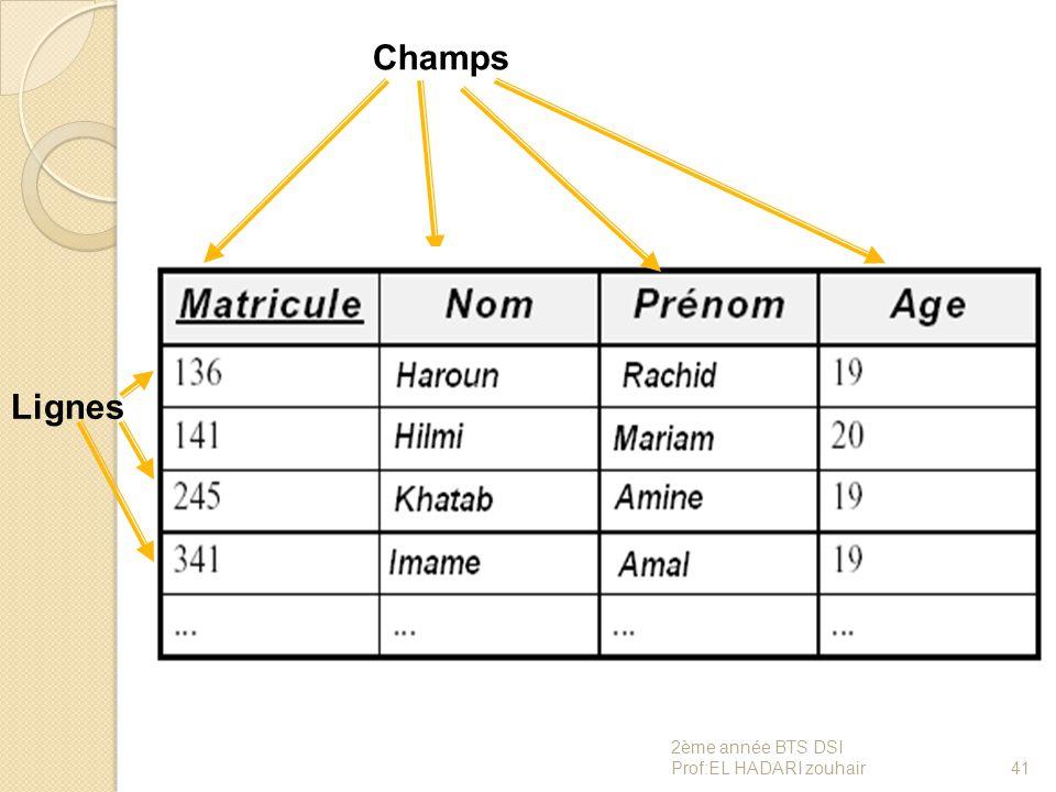 Champs Lignes 41 2ème année BTS DSI Prof:EL HADARI zouhair
