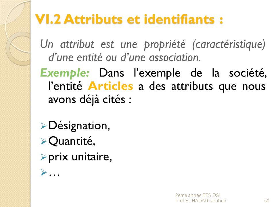 VI.2 Attributs et identifiants : Un attribut est une propriété (caractéristique) d'une entité ou d'une association. Exemple: Dans l'exemple de la soci