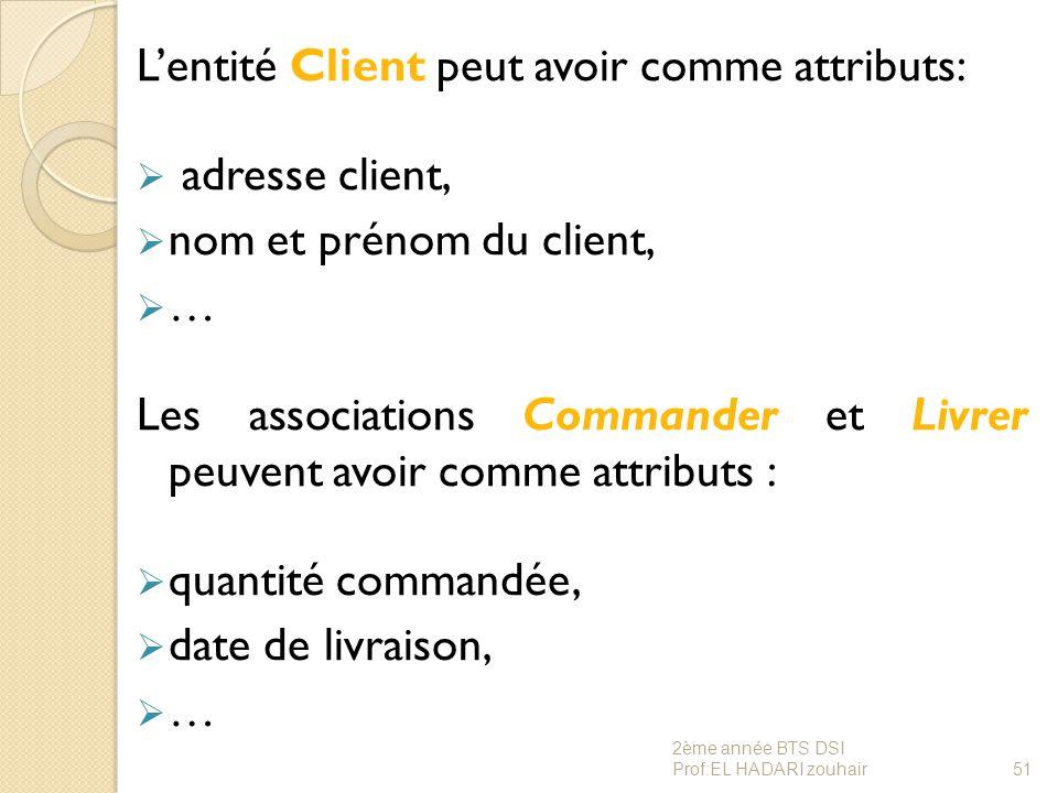L'entité Client peut avoir comme attributs:  adresse client,  nom et prénom du client,  … Les associations Commander et Livrer peuvent avoir comme