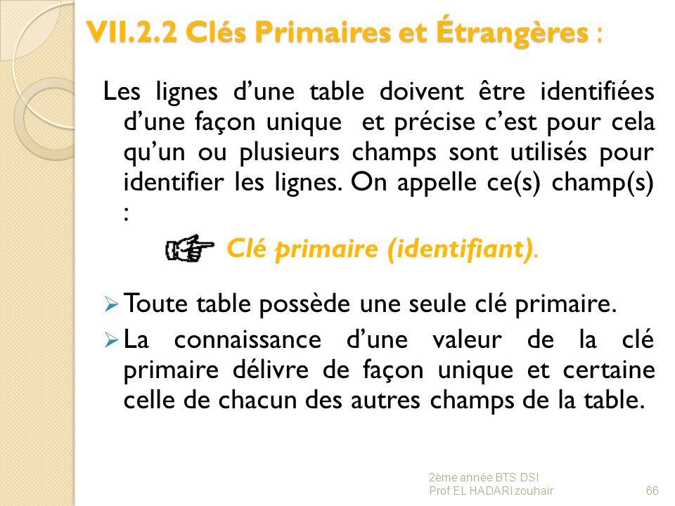 VII.2.2 Clés Primaires et Étrangères : Les lignes d'une table doivent être identifiées d'une façon unique et précise c'est pour cela qu'un ou plusieur