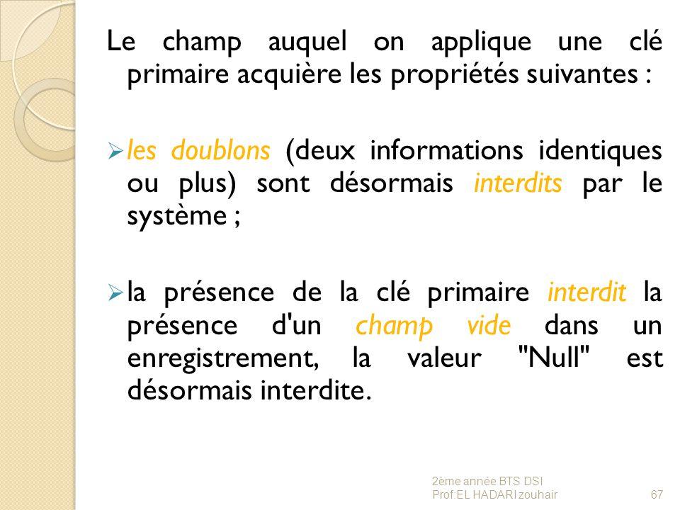 Le champ auquel on applique une clé primaire acquière les propriétés suivantes :  les doublons (deux informations identiques ou plus) sont désormais