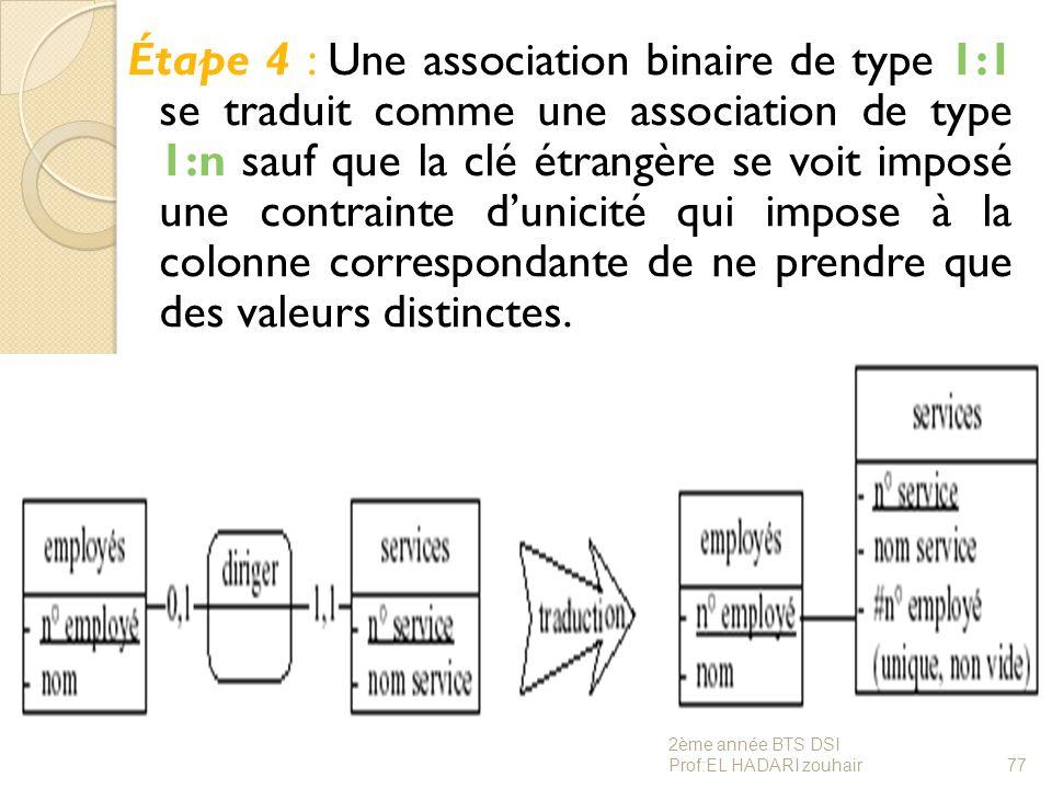 Étape 4 : Une association binaire de type 1:1 se traduit comme une association de type 1:n sauf que la clé étrangère se voit imposé une contrainte d'u
