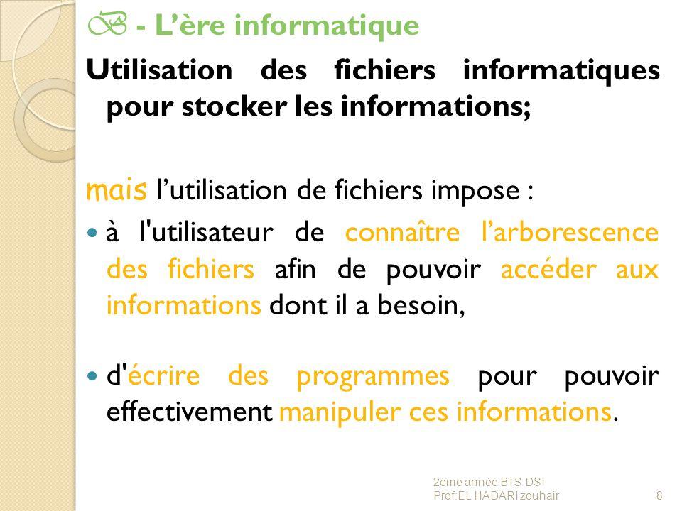 B - L'ère informatique Utilisation des fichiers informatiques pour stocker les informations; mais l'utilisation de fichiers impose : à l'utilisateur d