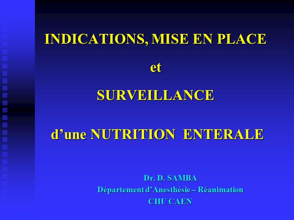 C O M P L I C A T I O N S (III) COMPLICATIONS DIGESTIVES La diarrhée a) Définition-Fréquence Poids des selles – Consistance 40% avec des extrêmes entre 2,3 et 70% b) Etiologie des diarrhées  Modalités de la nutrition entérale Osmolalité - Vitesse d'infusion Osmolalité - Vitesse d'infusion Lactose - Lipides (apport excessif) Lactose - Lipides (apport excessif) Apports insuffisants de micro-nutriments Apports insuffisants de micro-nutriments Surinfection des nutriments Surinfection des nutriments  Préparation des nutriments