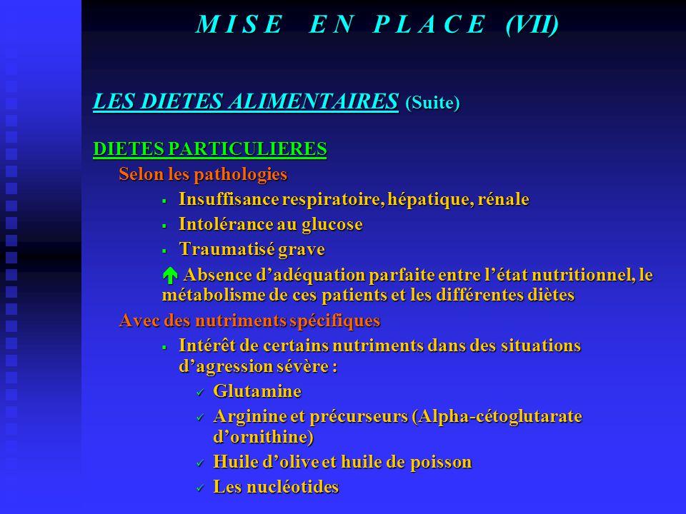 M I S E E N P L A C E (VI) SOLUTIONS NUTRITIVES OU DIETES ALIMENTAIRES CLASSIFICATION EN FONCTION DE L'ETAT DES NUTRIMENTS  Diètes élémentaires  Diè