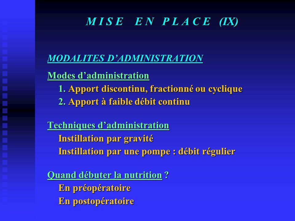 M I S E E N P L A C E (VIII) VOIES D'ADMINISTRATION En préopératoire : Sonde naso-gastrique Diètes polymériques ou semi-élémentaires Gastrostomie (chi
