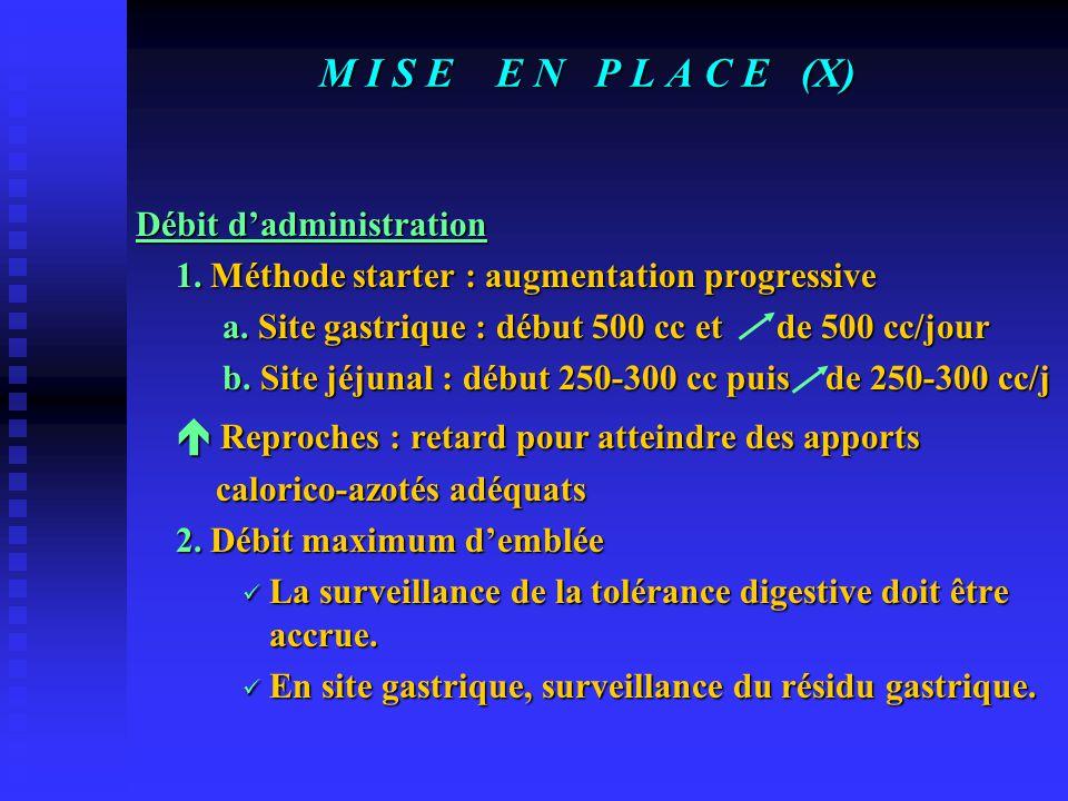 M I S E E N P L A C E (IX) MODALITES D'ADMINISTRATION Modes d'administration 1. Apport discontinu, fractionné ou cyclique 2. Apport à faible débit con