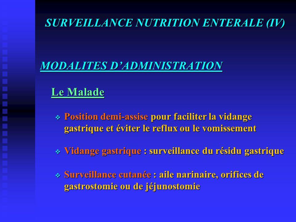 SURVEILLANCE NUTRITION ENTERALE (III) MODALITES D'ADMINISTRATION  Respect des mesures d'hygiène dans la manipulation des sondes, des tubulures et des