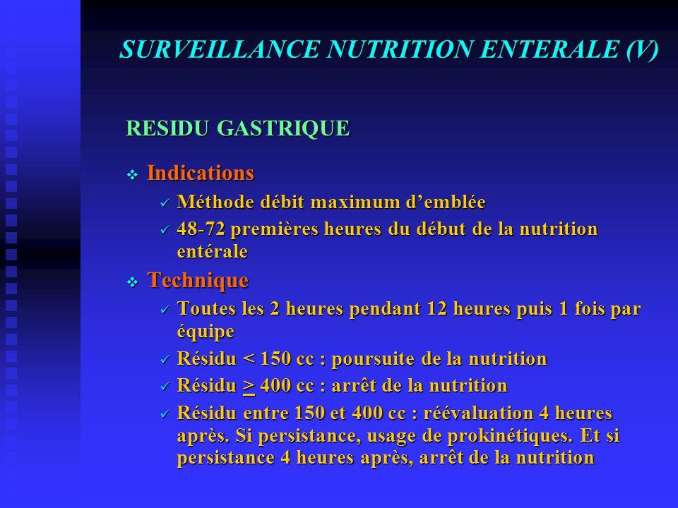SURVEILLANCE NUTRITION ENTERALE (IV) MODALITES D'ADMINISTRATION Le Malade  Position demi-assise pour faciliter la vidange gastrique et éviter le refl