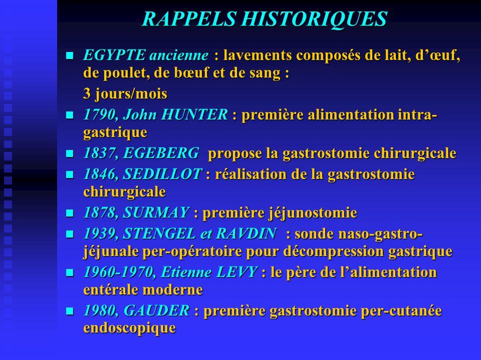 RAPPELS HISTORIQUES EGYPTE ancienne : lavements composés de lait, d'œuf, de poulet, de bœuf et de sang : EGYPTE ancienne : lavements composés de lait, d'œuf, de poulet, de bœuf et de sang : 3 jours/mois 1790, John HUNTER : première alimentation intra- gastrique 1790, John HUNTER : première alimentation intra- gastrique 1837, EGEBERG propose la gastrostomie chirurgicale 1837, EGEBERG propose la gastrostomie chirurgicale 1846, SEDILLOT : réalisation de la gastrostomie chirurgicale 1846, SEDILLOT : réalisation de la gastrostomie chirurgicale 1878, SURMAY : première jéjunostomie 1878, SURMAY : première jéjunostomie 1939, STENGEL et RAVDIN : sonde naso-gastro- jéjunale per-opératoire pour décompression gastrique 1939, STENGEL et RAVDIN : sonde naso-gastro- jéjunale per-opératoire pour décompression gastrique 1960-1970, Etienne LEVY : le père de l'alimentation entérale moderne 1960-1970, Etienne LEVY : le père de l'alimentation entérale moderne 1980, GAUDER : première gastrostomie per-cutanée endoscopique 1980, GAUDER : première gastrostomie per-cutanée endoscopique