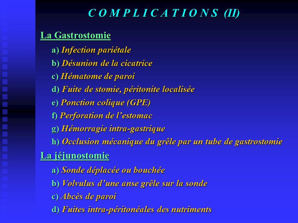 C O M P L I C A T I O N S (I) COMPLICATIONS LIEES AU MODE DE NUTRITION Les sondes nasogastrique ou nasoduodénale ou nasojéjunale a) Lésions oesophagie
