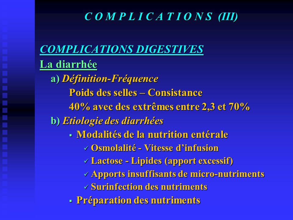 C O M P L I C A T I O N S (II) La Gastrostomie a) Infection pariétale b) Désunion de la cicatrice c) Hématome de paroi d) Fuite de stomie, péritonite