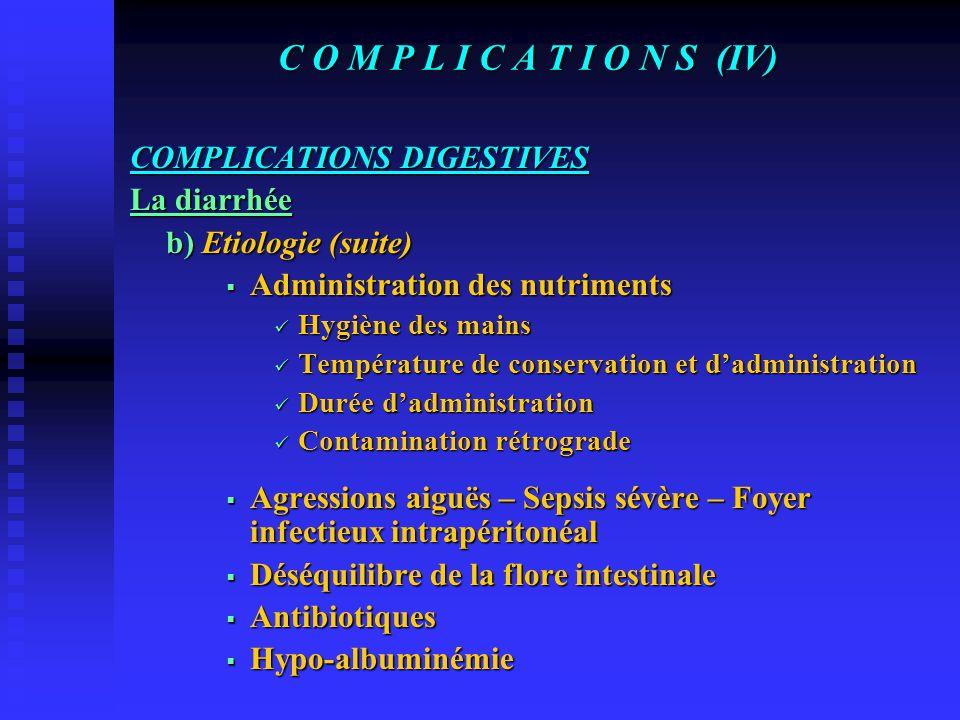 C O M P L I C A T I O N S (III) COMPLICATIONS DIGESTIVES La diarrhée a) Définition-Fréquence Poids des selles – Consistance 40% avec des extrêmes entr