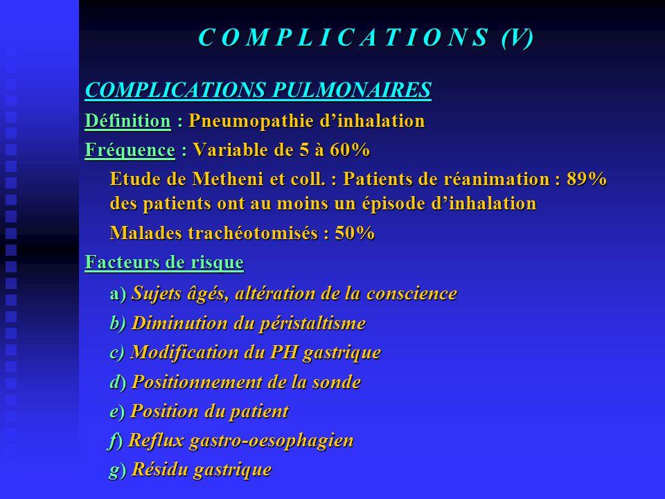 C O M P L I C A T I O N S (IV) La diarrhée c) Traitement  Respect des modalités d'administration  Modifications des apports  Morphinomimétiques (Co