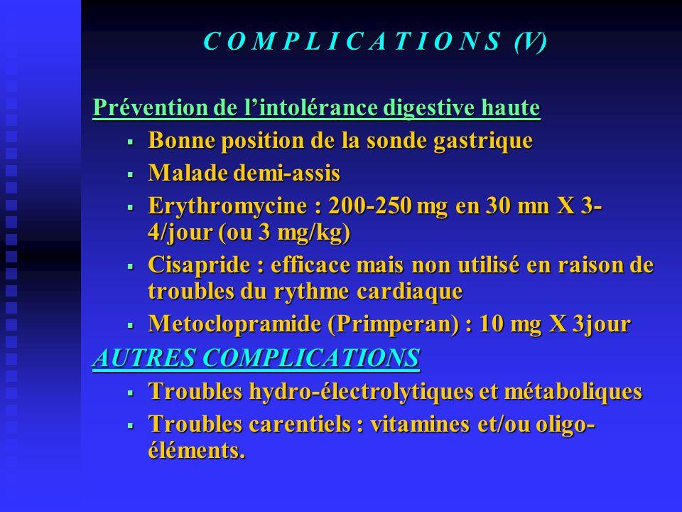 C O M P L I C A T I O N S (V) COMPLICATIONS PULMONAIRES Définition : Pneumopathie d'inhalation Fréquence : Variable de 5 à 60% Etude de Metheni et col