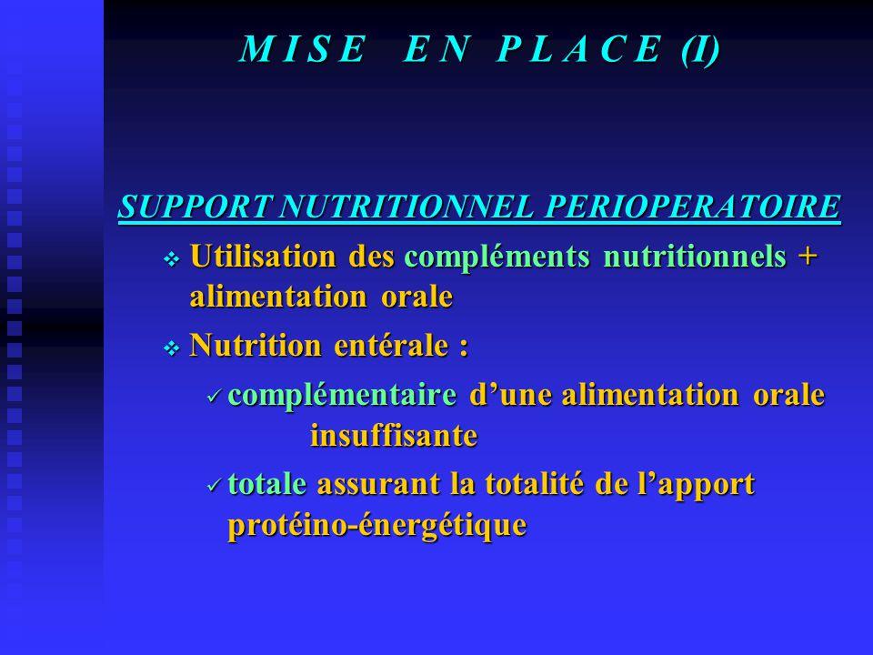 M I S E E N P L A C E (I) SUPPORT NUTRITIONNEL PERIOPERATOIRE  Utilisation des compléments nutritionnels + alimentation orale  Nutrition entérale : complémentaire d'une alimentation orale insuffisante complémentaire d'une alimentation orale insuffisante totale assurant la totalité de l'apport protéino-énergétique totale assurant la totalité de l'apport protéino-énergétique