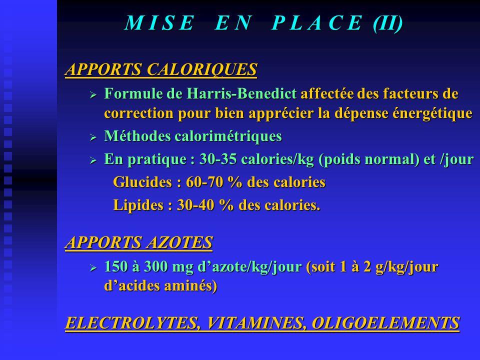 M I S E E N P L A C E (II) APPORTS CALORIQUES  Formule de Harris-Benedict affectée des facteurs de correction pour bien apprécier la dépense énergétique  Méthodes calorimétriques  En pratique : 30-35 calories/kg (poids normal) et /jour Glucides : 60-70 % des calories Lipides : 30-40 % des calories.