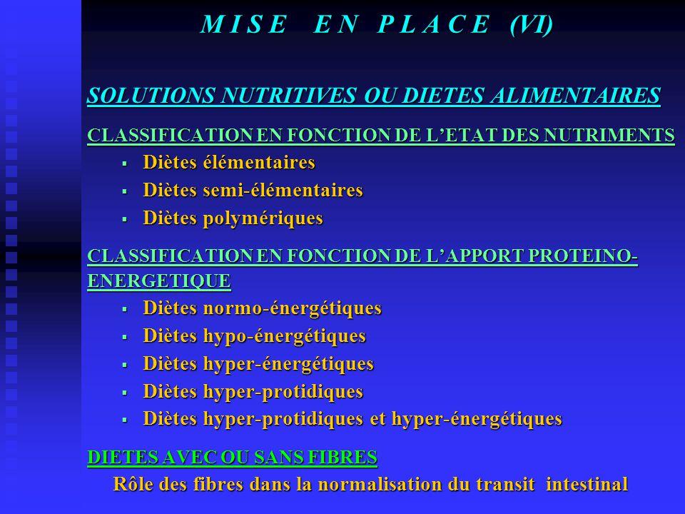 M I S E E N P L A C E (V) LE MATERIEL Les sondes digestives  La sonde naso-gastrique Sonde en polyuréthane ou en silicone lestée ou non, radio-opaque