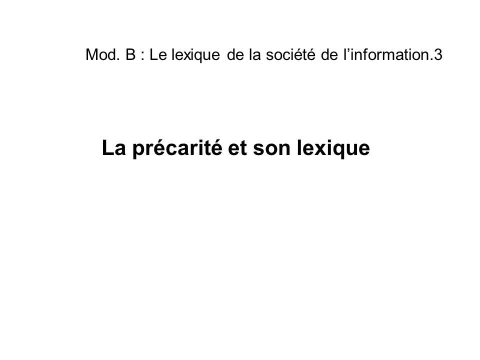 Mod. B : Le lexique de la société de l'information.3 La précarité et son lexique