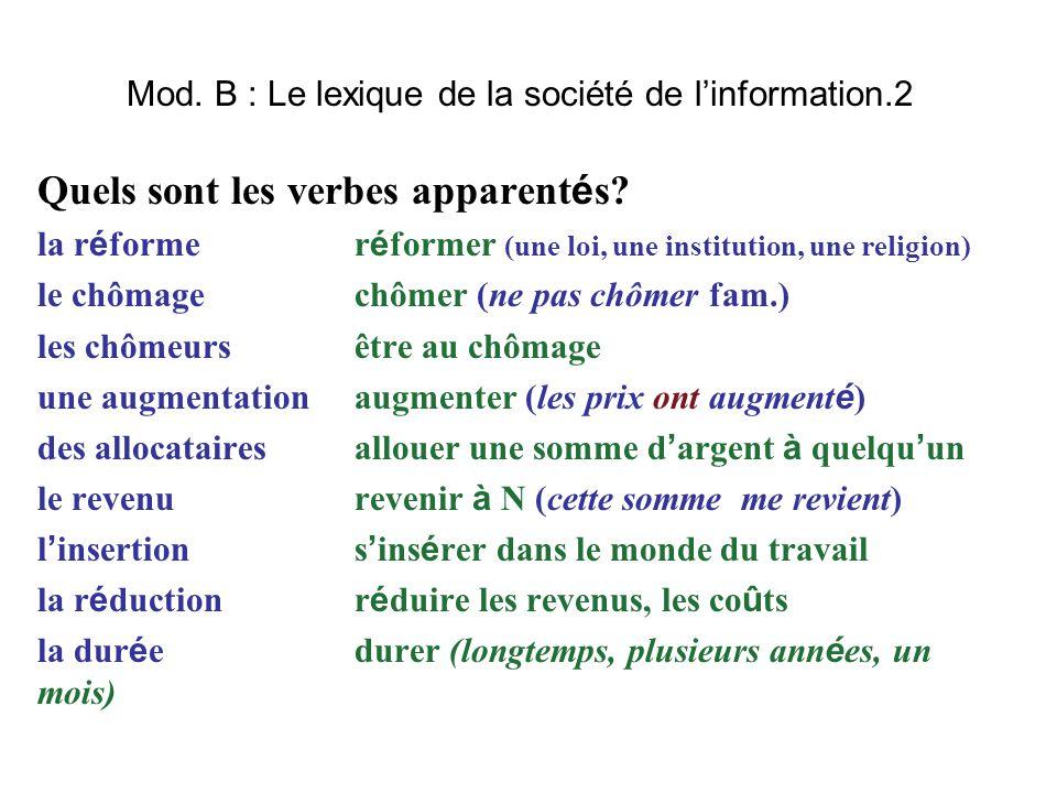 Mod. B : Le lexique de la société de l'information.2 Quels sont les verbes apparent é s? la r é forme r é former (une loi, une institution, une religi