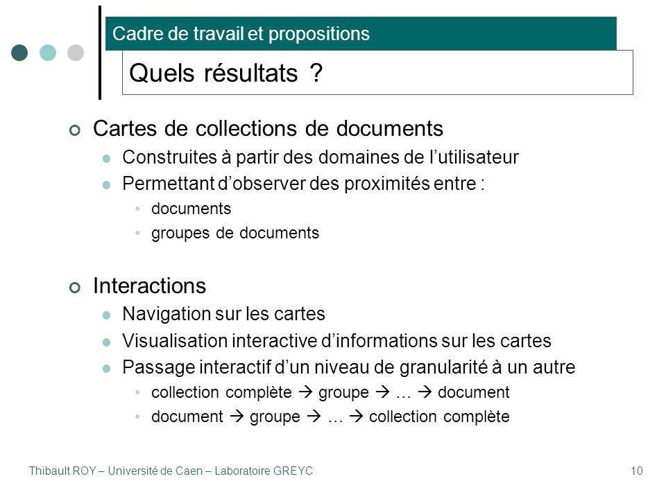 Thibault ROY – Université de Caen – Laboratoire GREYC10 Quels résultats ? Cartes de collections de documents Construites à partir des domaines de l'ut