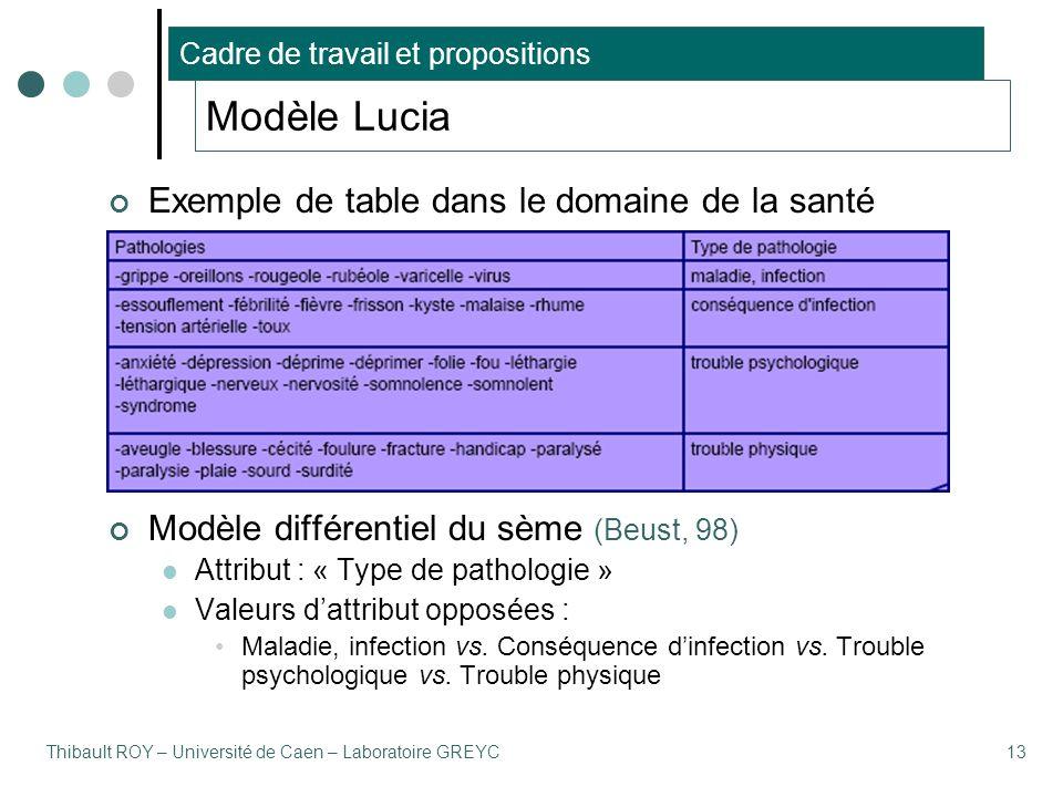 Thibault ROY – Université de Caen – Laboratoire GREYC13 Exemple de table dans le domaine de la santé Modèle différentiel du sème (Beust, 98) Attribut : « Type de pathologie » Valeurs d'attribut opposées : Maladie, infection vs.