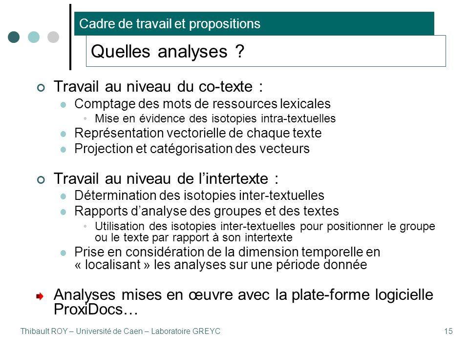 Thibault ROY – Université de Caen – Laboratoire GREYC15 Quelles analyses ? Travail au niveau du co-texte : Comptage des mots de ressources lexicales M