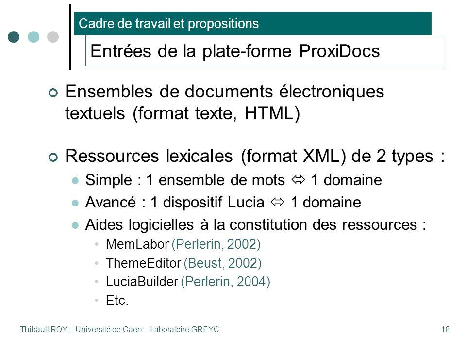 Thibault ROY – Université de Caen – Laboratoire GREYC18 Entrées de la plate-forme ProxiDocs Ensembles de documents électroniques textuels (format texte, HTML) Ressources lexicales (format XML) de 2 types : Simple : 1 ensemble de mots  1 domaine Avancé : 1 dispositif Lucia  1 domaine Aides logicielles à la constitution des ressources : MemLabor (Perlerin, 2002) ThemeEditor (Beust, 2002) LuciaBuilder (Perlerin, 2004) Etc.