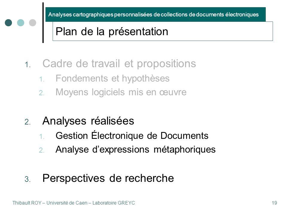 Thibault ROY – Université de Caen – Laboratoire GREYC19 Plan de la présentation 1. Cadre de travail et propositions 1. Fondements et hypothèses 2. Moy