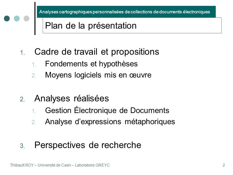 Thibault ROY – Université de Caen – Laboratoire GREYC2 Plan de la présentation 1. Cadre de travail et propositions 1. Fondements et hypothèses 2. Moye