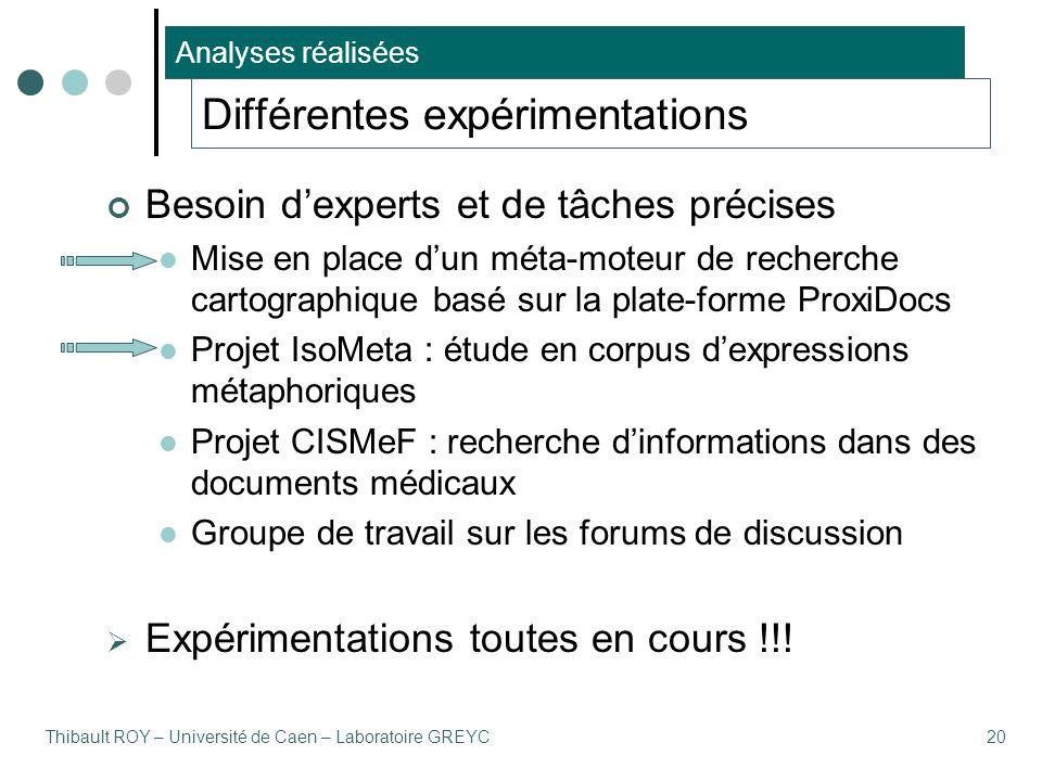 Thibault ROY – Université de Caen – Laboratoire GREYC20 Différentes expérimentations Besoin d'experts et de tâches précises Mise en place d'un méta-mo