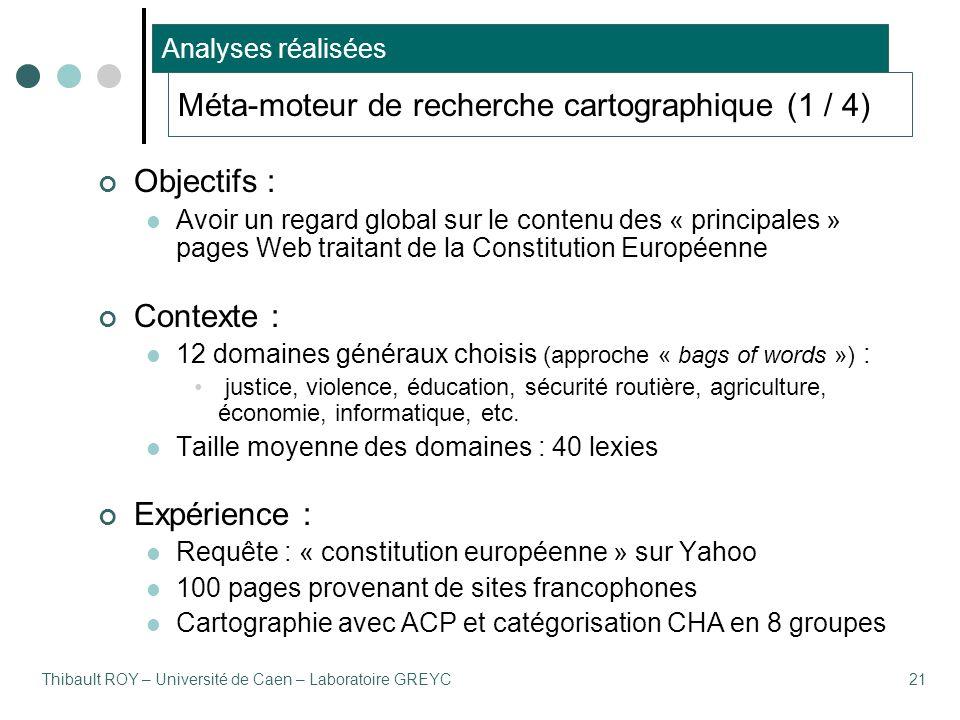 Thibault ROY – Université de Caen – Laboratoire GREYC21 Méta-moteur de recherche cartographique (1 / 4) Objectifs : Avoir un regard global sur le cont