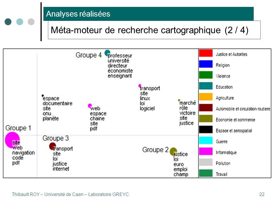 Thibault ROY – Université de Caen – Laboratoire GREYC22 Méta-moteur de recherche cartographique (2 / 4) Analyses réalisées