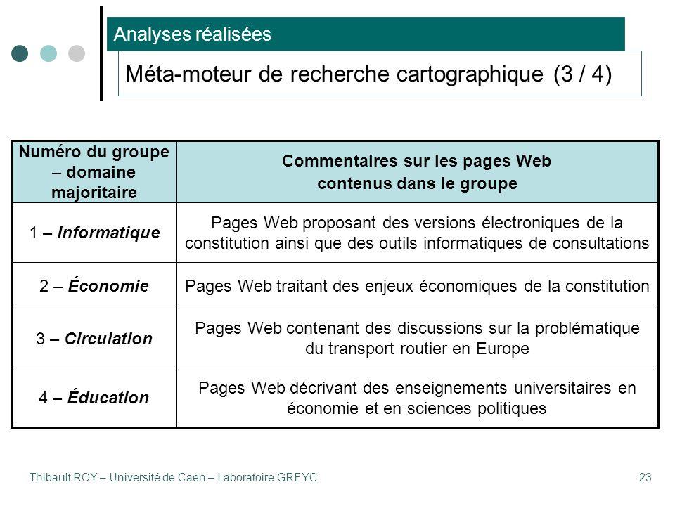 Thibault ROY – Université de Caen – Laboratoire GREYC23 Pages Web décrivant des enseignements universitaires en économie et en sciences politiques 4 –