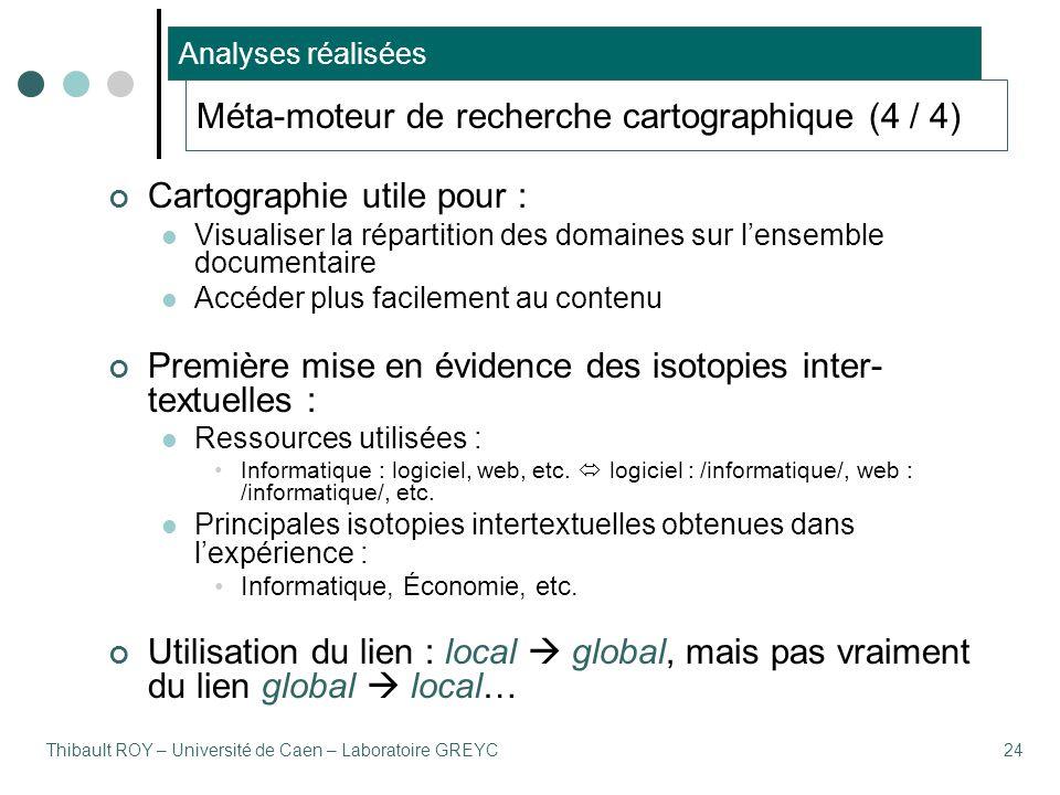Thibault ROY – Université de Caen – Laboratoire GREYC24 Méta-moteur de recherche cartographique (4 / 4) Analyses réalisées Cartographie utile pour : V