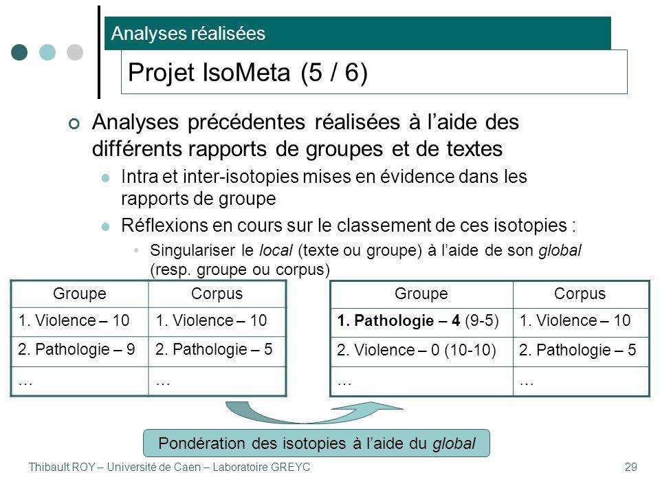 Thibault ROY – Université de Caen – Laboratoire GREYC29 Projet IsoMeta (5 / 6) Analyses précédentes réalisées à l'aide des différents rapports de groupes et de textes Intra et inter-isotopies mises en évidence dans les rapports de groupe Réflexions en cours sur le classement de ces isotopies : Singulariser le local (texte ou groupe) à l'aide de son global (resp.