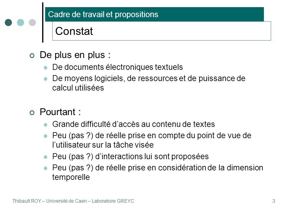 Thibault ROY – Université de Caen – Laboratoire GREYC3 Constat De plus en plus : De documents électroniques textuels De moyens logiciels, de ressource