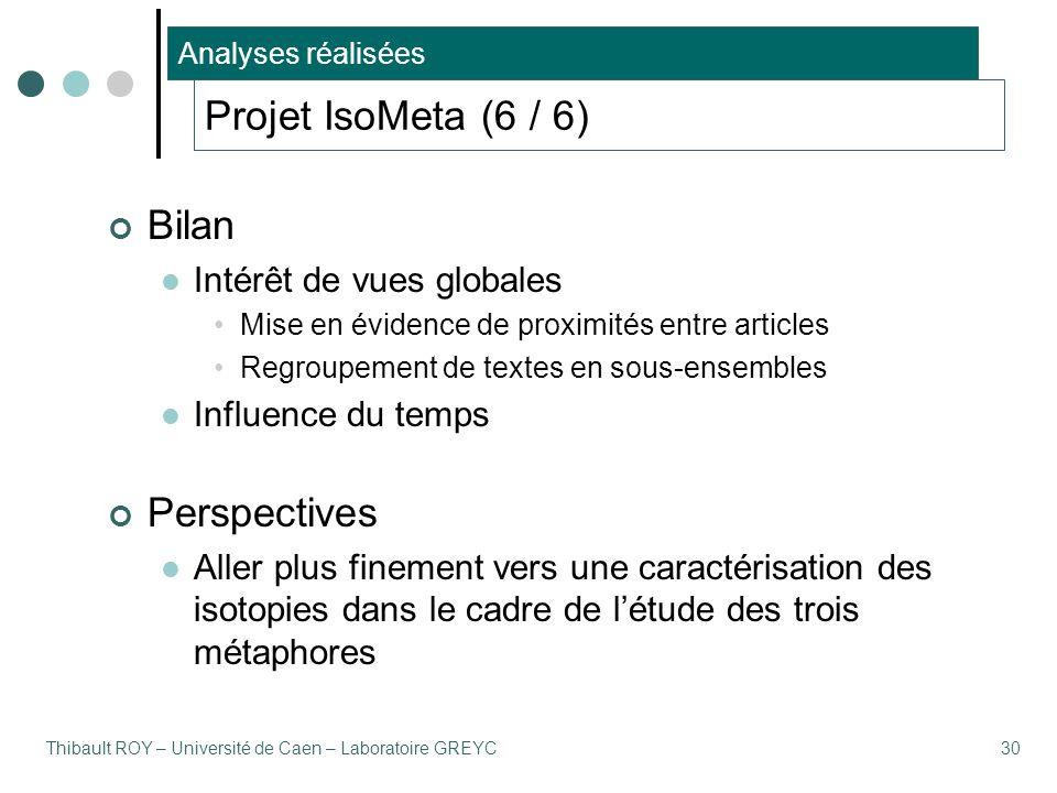 Thibault ROY – Université de Caen – Laboratoire GREYC30 Projet IsoMeta (6 / 6) Bilan Intérêt de vues globales Mise en évidence de proximités entre art