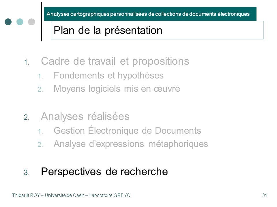 Thibault ROY – Université de Caen – Laboratoire GREYC31 Plan de la présentation 1. Cadre de travail et propositions 1. Fondements et hypothèses 2. Moy