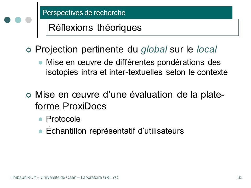 Thibault ROY – Université de Caen – Laboratoire GREYC33 Réflexions théoriques Projection pertinente du global sur le local Mise en œuvre de différentes pondérations des isotopies intra et inter-textuelles selon le contexte Mise en œuvre d'une évaluation de la plate- forme ProxiDocs Protocole Échantillon représentatif d'utilisateurs Perspectives de recherche