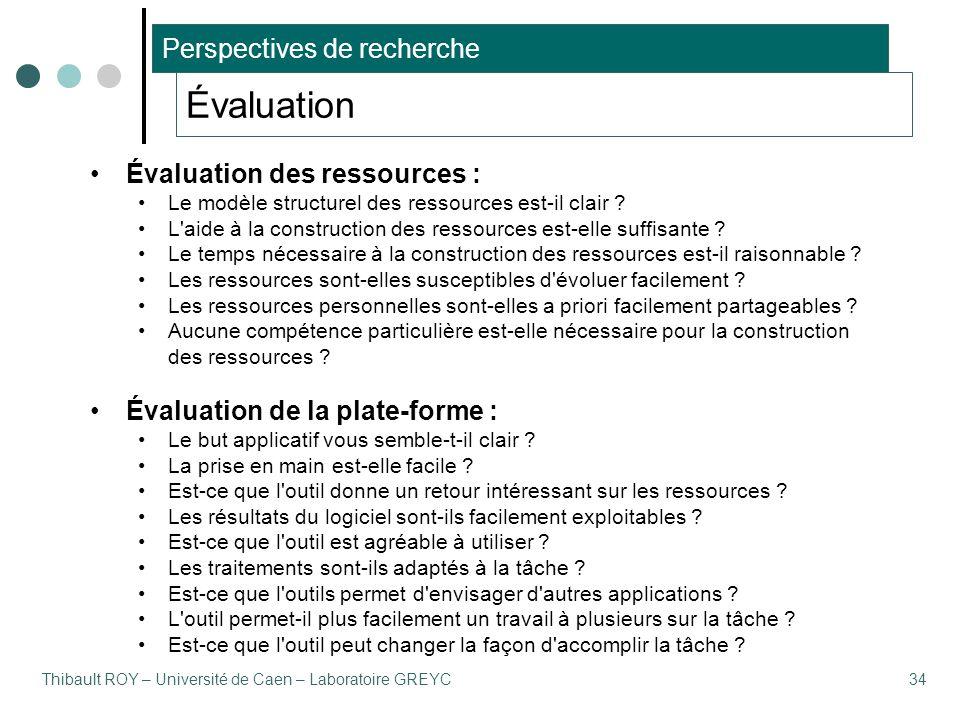 Thibault ROY – Université de Caen – Laboratoire GREYC34 Évaluation Évaluation des ressources : Le modèle structurel des ressources est-il clair ? L'ai
