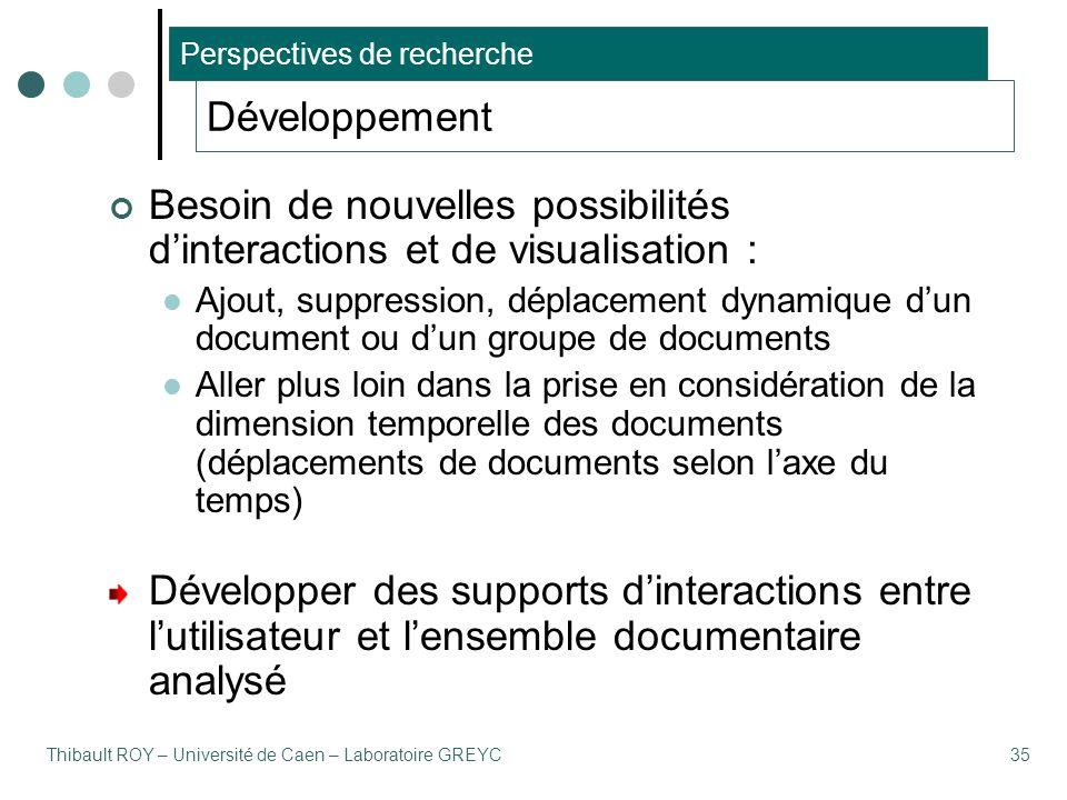 Thibault ROY – Université de Caen – Laboratoire GREYC35 Développement Besoin de nouvelles possibilités d'interactions et de visualisation : Ajout, sup