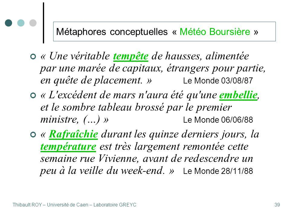 Thibault ROY – Université de Caen – Laboratoire GREYC39 Métaphores conceptuelles « Météo Boursière » « Une véritable tempête de hausses, alimentée par une marée de capitaux, étrangers pour partie, en quête de placement.
