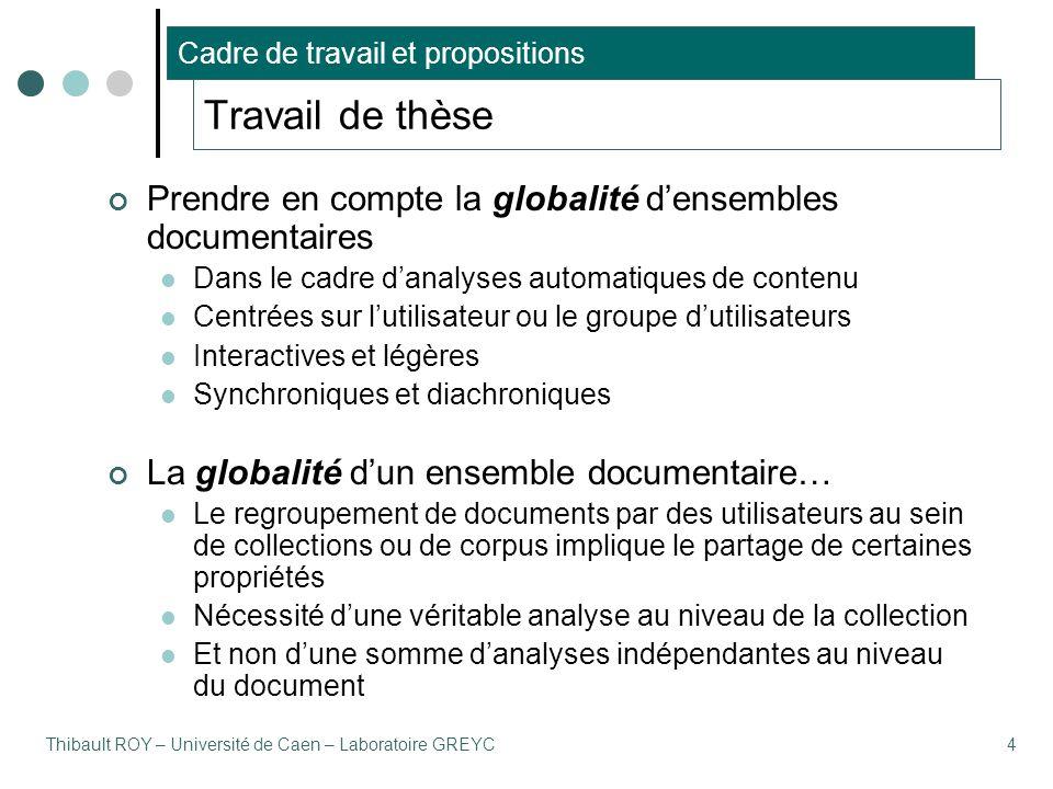 Thibault ROY – Université de Caen – Laboratoire GREYC4 Travail de thèse Prendre en compte la globalité d'ensembles documentaires Dans le cadre d'analy