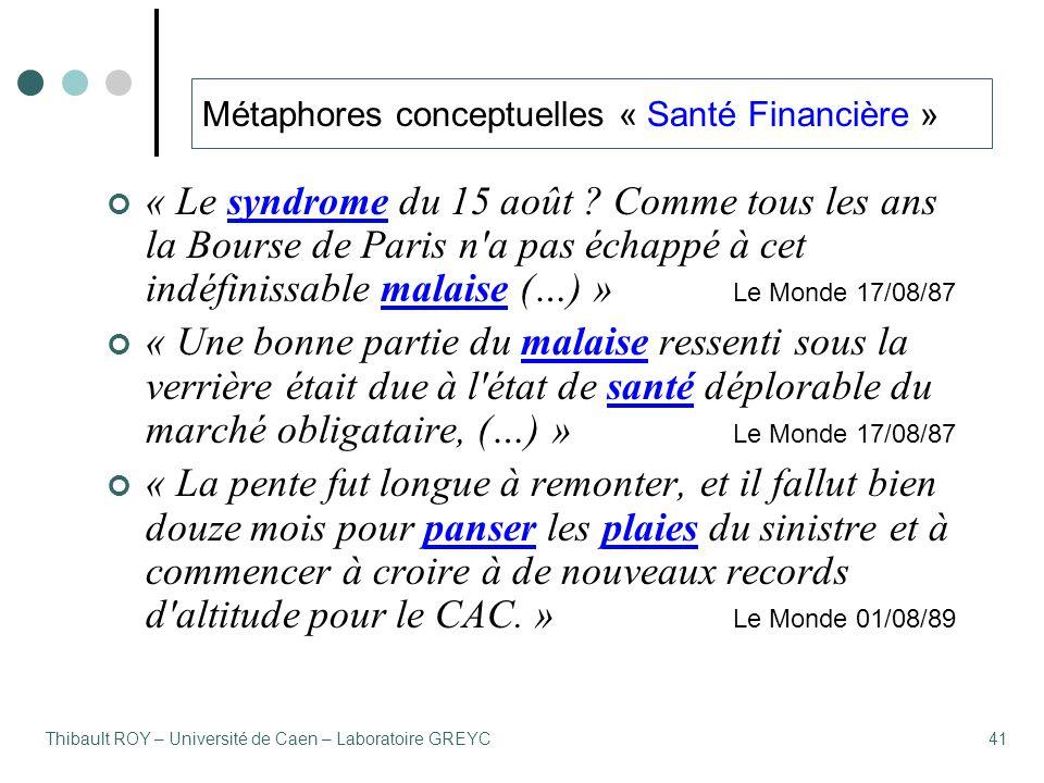 Thibault ROY – Université de Caen – Laboratoire GREYC41 Métaphores conceptuelles « Santé Financière » « Le syndrome du 15 août ? Comme tous les ans la