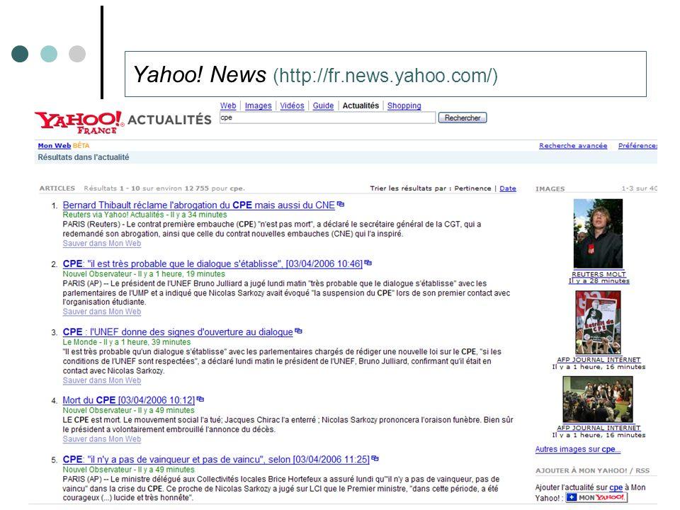 Thibault ROY – Université de Caen – Laboratoire GREYC53 Yahoo! News (http://fr.news.yahoo.com/)
