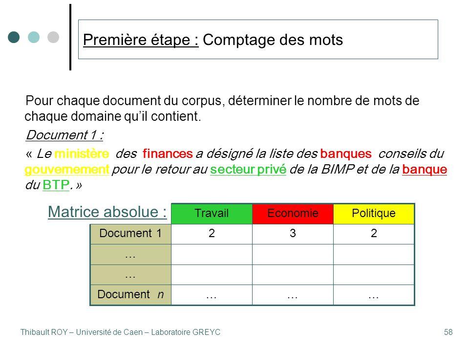 Thibault ROY – Université de Caen – Laboratoire GREYC58 Pour chaque document du corpus, déterminer le nombre de mots de chaque domaine qu'il contient.