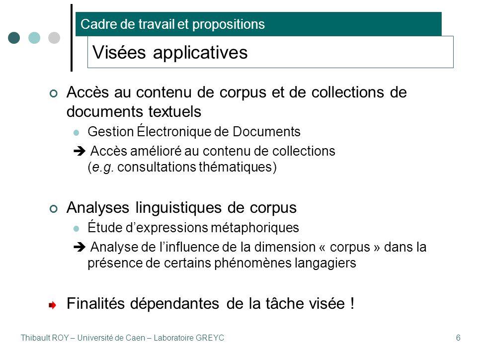 Thibault ROY – Université de Caen – Laboratoire GREYC6 Visées applicatives Accès au contenu de corpus et de collections de documents textuels Gestion