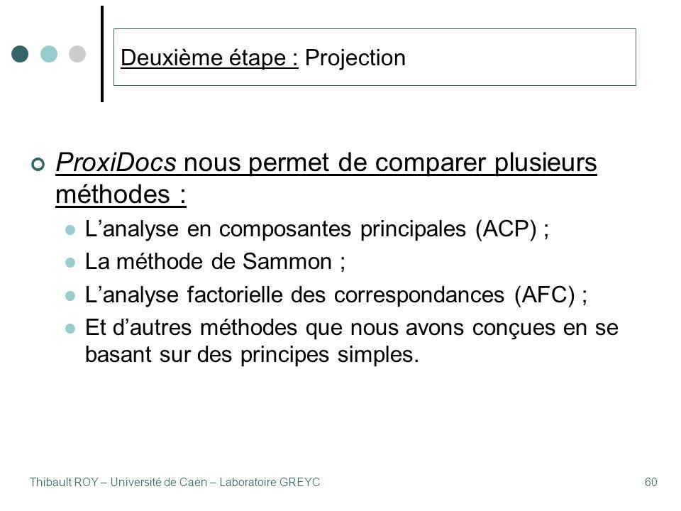 Thibault ROY – Université de Caen – Laboratoire GREYC60 Deuxième étape : Projection ProxiDocs nous permet de comparer plusieurs méthodes : L'analyse en composantes principales (ACP) ; La méthode de Sammon ; L'analyse factorielle des correspondances (AFC) ; Et d'autres méthodes que nous avons conçues en se basant sur des principes simples.